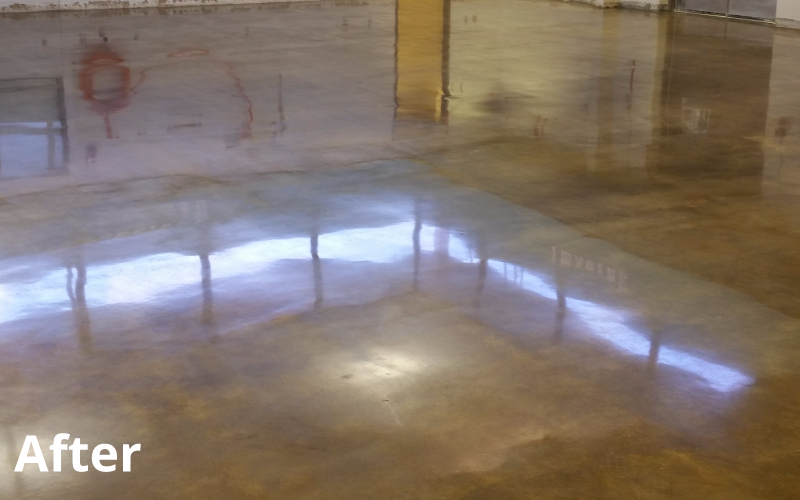 after concrete polishing treatment